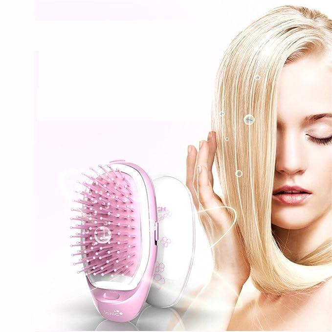 Cepillo Alisador Electrico de Negativo peine de iones masaje antiestático peine de pelo recto peine de modelado portátil, violeta: Amazon.es: Belleza