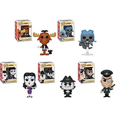 Funko Pop! Animation: Rocky & Bullwinkle Set of 5: Bullwinkle Magician, Flying Rocky, Natasha, Boris Fearless Leader: Toys & Games