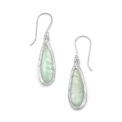 Sterling Silber Französisch Draht Ohrringe Pear poliert Form Grün ...