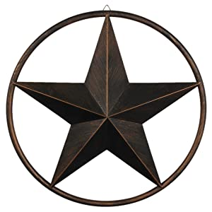 "EBEI 24"" Rustic Metal Barn Star Circle Dark Brown Texas Lone Star Wall Decor Art Western Home Decor"
