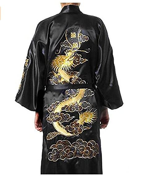 a1203e5ed9 Bon amixyl Men s Dressing Gown Bathrobe Satin Silk Bath Robe Kimono Gown  Dragon Embroidery Yukata Hakma Vintage