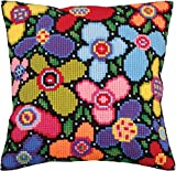 RTO Flower Glade Collection D'Art Stamped Needlepoint Cushion Kit, 40 x 40cm