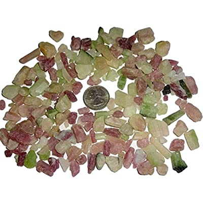 Sublime Gifts - Pink & Green Tourmaline Raw Natural Rough Mini rods & Log chip Pieces Crystal Healing Gemstones - 5pc Set: Toys & Games