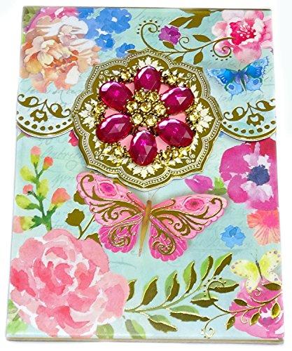 Punch Studio Notepad Aquarelle Bouquet De Fleurs Purse Sketchpad Pink - Stocking Jeweled