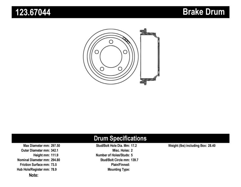 Centric 123.67044 Rear Brake Drum