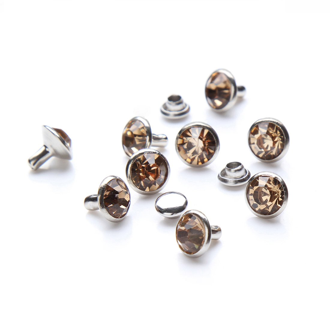 100 Sets Cz Colorful Crystal Rapid Rivets Silver Color Spots Studs Double Cap for DIY Leather-Craft (Champagne, 8MM) DasGarden A-RVTS1001