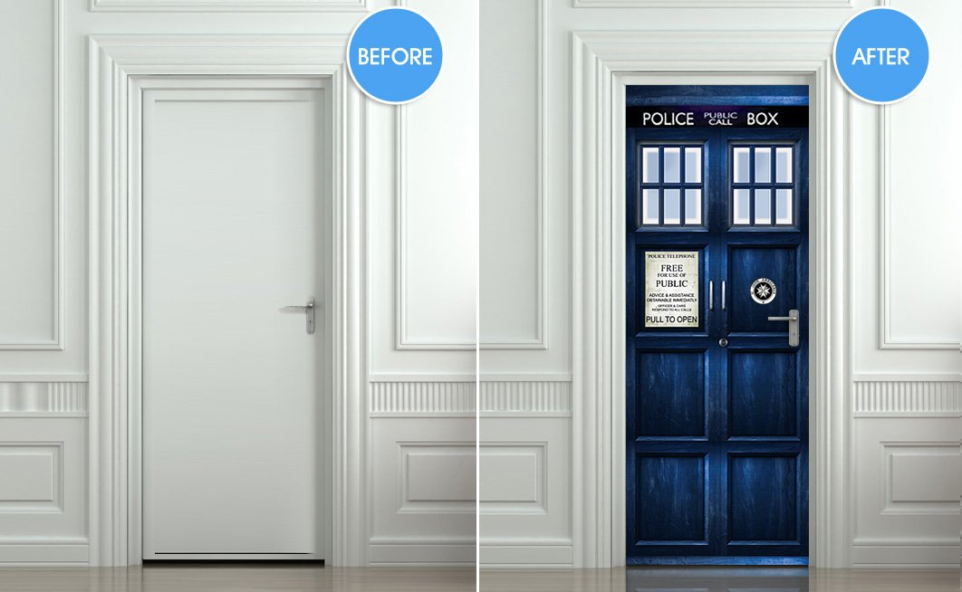 Wall Door STICKER Who Police Box Movie Sticker, Mural, Decole, Film 30x79 Part 89