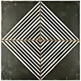 SomerTile FPEKROMB Reyes Ceramic Floor and Wall Tile, 17.75'' x 17.75'', Black/White