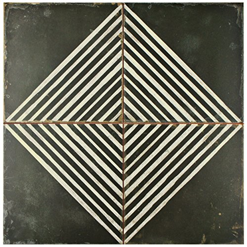 SomerTile FPEKROMB Reyes Ceramic Floor and Wall Tile, 17.75'' x 17.75'', Black/White by SOMERTILE