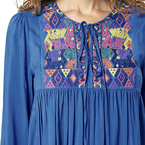 Dress DEZZAL Long Tunic Sleeve Babydoll Bohemian Embroidered Women's wgwqO0v