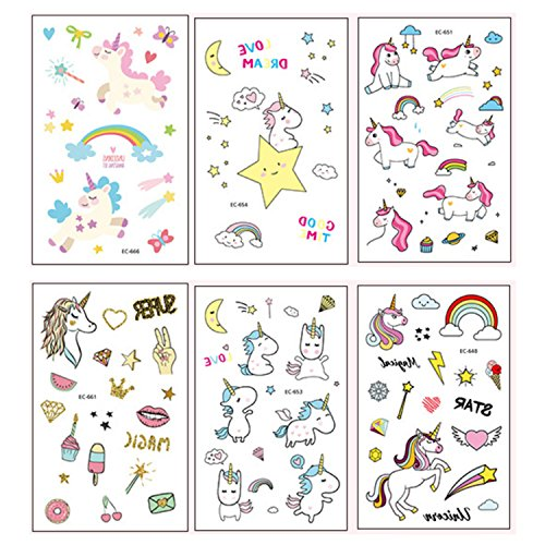 Auony Unicorn Temporary Tattoos For Kids, 6 Sheets Party Favors Temporary Tattoos Stickers for Girls Boys Birthday Toddlers Party Supplies by Auony