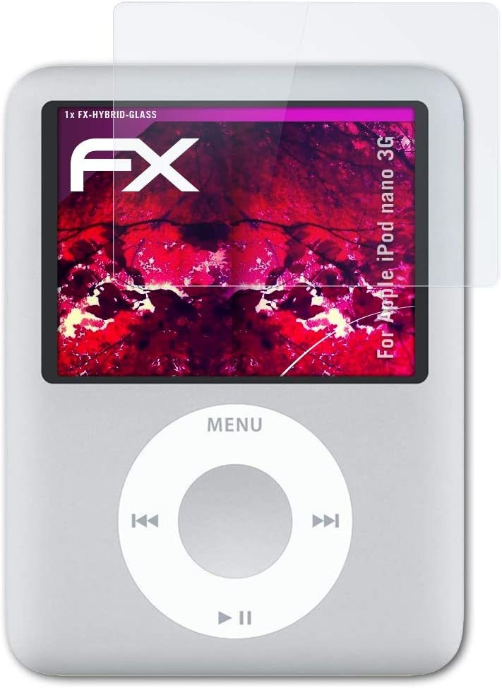 atFoliX Plastic Glass Protective Film Compatible with Apple iPod Nano 3G Glass Protector, 9H Hybrid-Glass FX Glass Screen Protector of Plastic