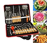 80pcs/Set Portable Vegetable Fruit Food Wood Box Peeling Carving Tools Kit Pack-(Two leading is sharp, the other may not be very sharp)