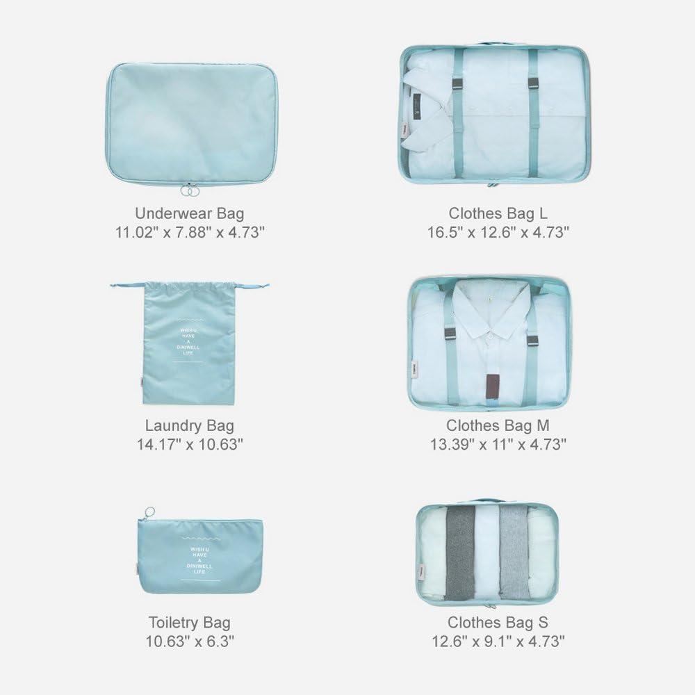 Adwaita 6 Set Packing Cubes Grey Travel Luggage Packing Organizers