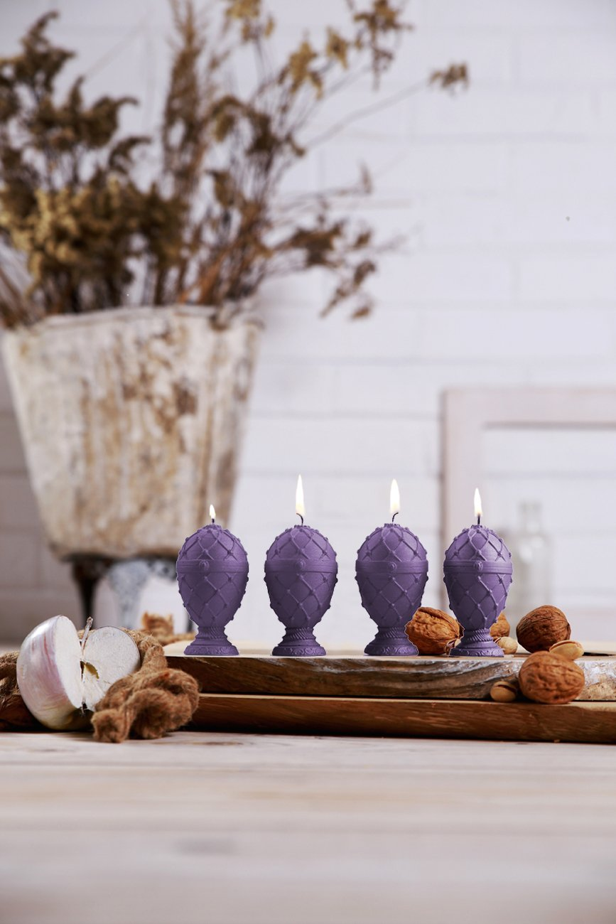 Candellana Candles 5903104800284 Faberge Egg Small Candles (Set of 4), Lilac, 4 Piece