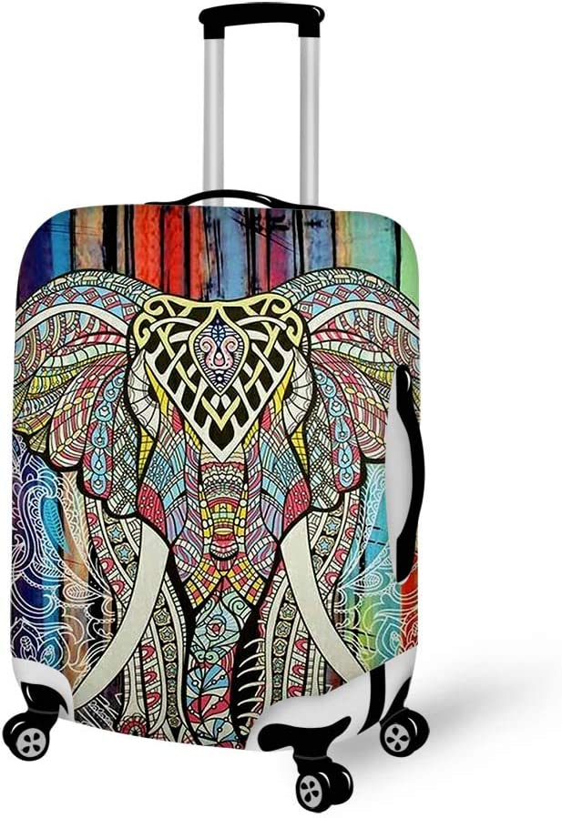 Luggage Cover Purple Floral Lotus Elephant Mandala Protective Travel Trunk Case Elastic Luggage Suitcase Protector Cover