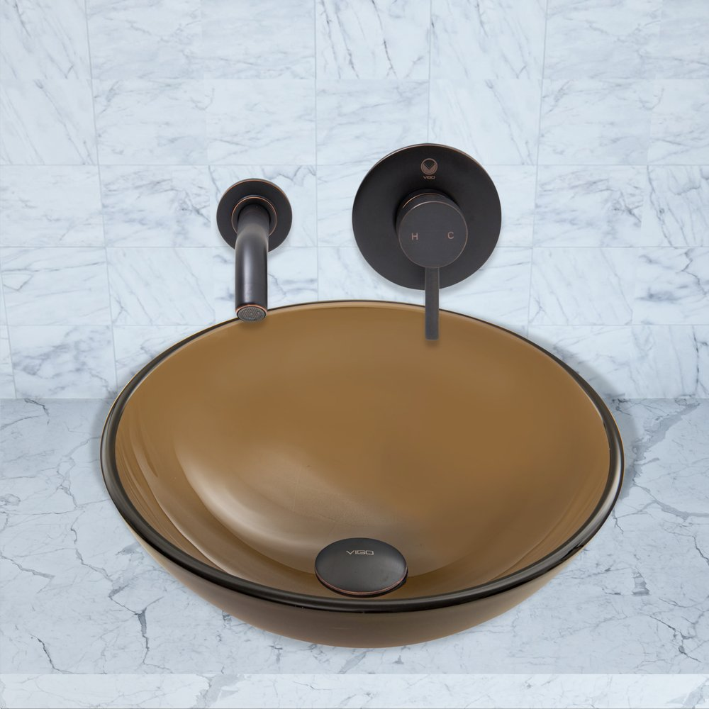 VIGO Sheer Sepia Frost Glass Vessel Bathroom Sink and Olus Wall Mount Faucet with Pop Up Antique Rubbed Bronze