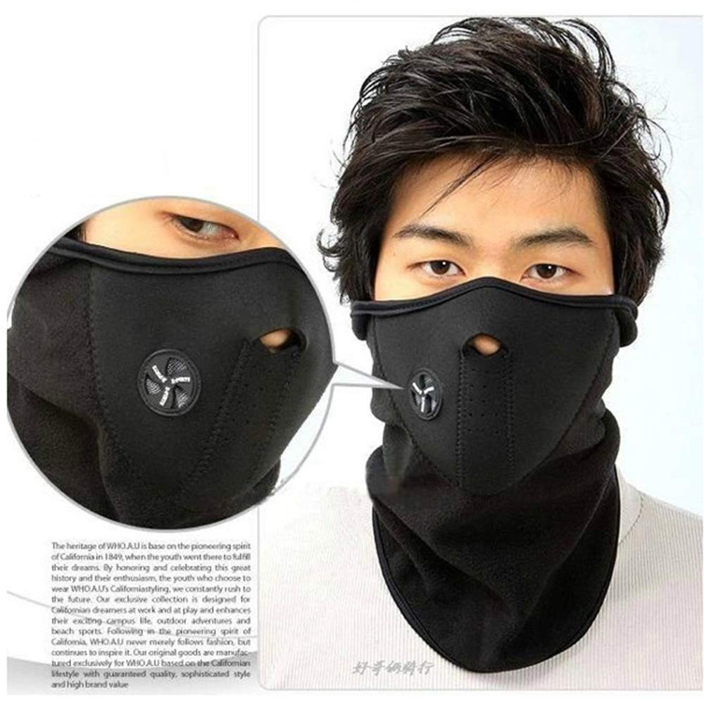 Ogquaton V/élo Coupe-Vent Visage Masque Cou Chaud Masque Hiver en Plein Air Moto Ski Sport Veil Noir