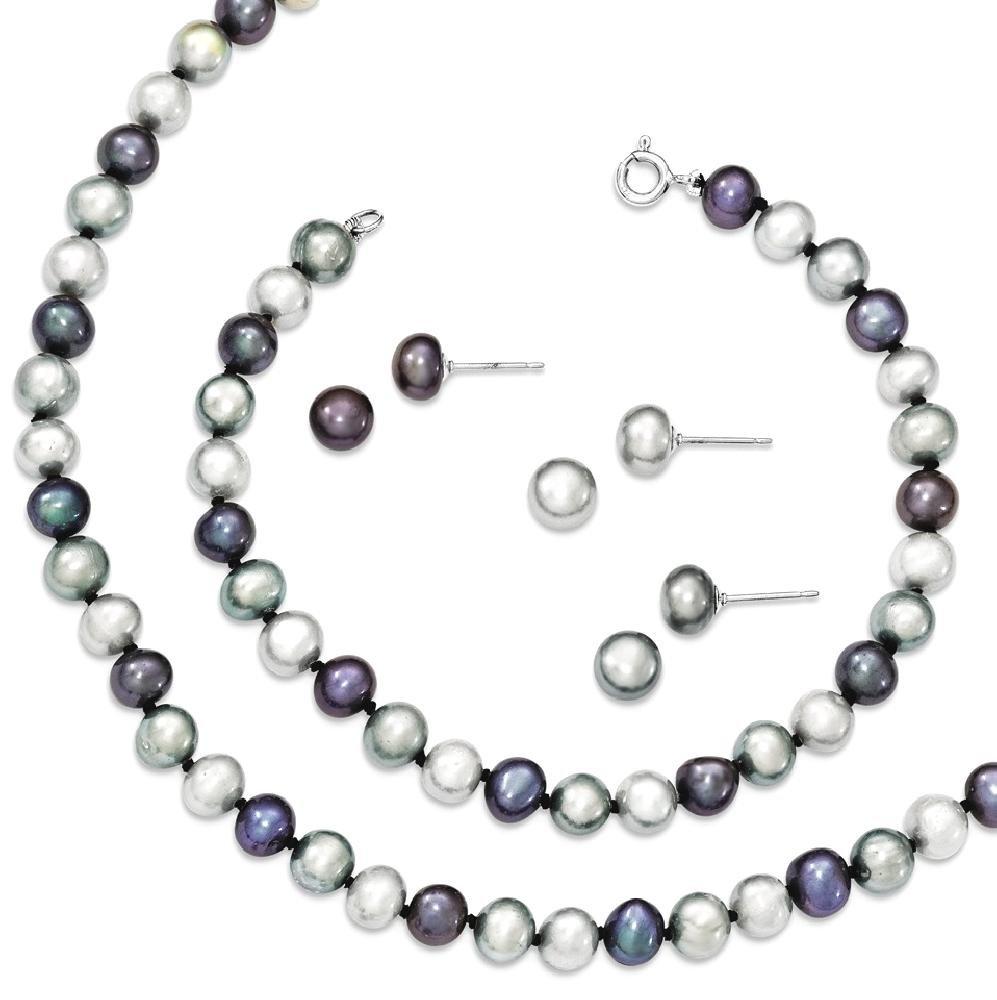 ICE CARATS 925 Sterling Silver Freshwater Cultured Pearl Chain Necklace 7.25 Brace 3pc Earrings Set Bracelet Fine Jewelry Gift Set For Women Heart