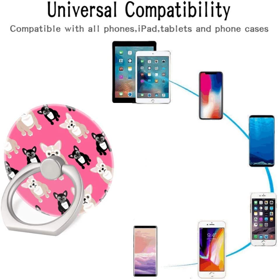 360 Degree Finger Stand Cell Phone Ring Holder Car Mount with Hook for Smartphone-Purple Lotus Flower and Fractal Crystals