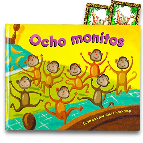 Eight Silly Monkeys Book Set For Kids Toddlers with Stickers (Spanish ()