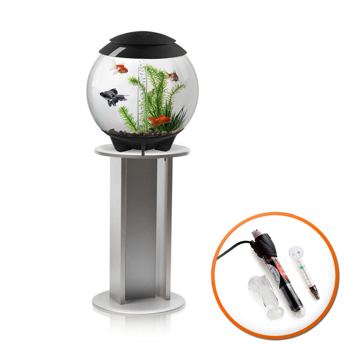 BiOrb Halo 30L Aquarium in Grey with Moonlight LED Lighting, Heater Pack and Silver Stand