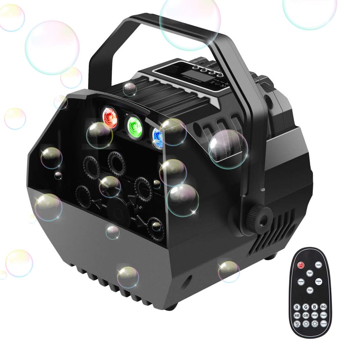 Easife 2019 New Portable Bubble Machine for Kids Party Automatic Bubble Maker Bubble Blower with LED Lights&Operation Panel Wireless Remote Control Powered by Plug-in or Batteries Outdoor/Indoor Use by Easife