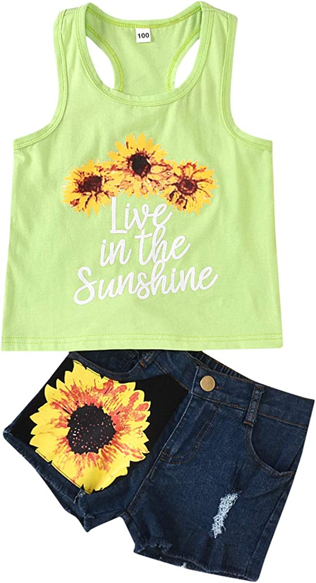 1-8T Toddler Girl Sleeveless Vest Tops Floral Denim Shorts Outfits Set