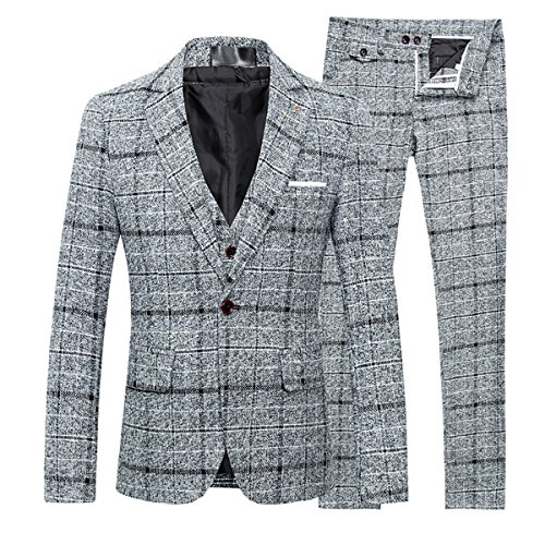Men's 3-Piece Suit Plaid Slim Fit One Button Single-Breasted Wedding Blazer by Cloudstyle