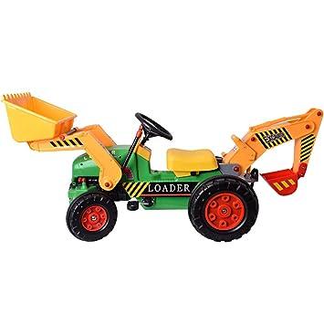 TE-Trend XXL Niños Vehículo Tractor Bulldozer Excavadoras de rueda de cubo con Pala y Cuerpo volquete a la Entran: Amazon.es: Juguetes y juegos