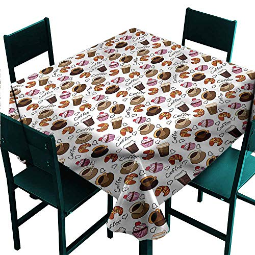 DONEECKL Square Tablecloth Coffee Takeaways and Sweets Cherry for Kitchen Dinning Tabletop Decoration W36 xL36