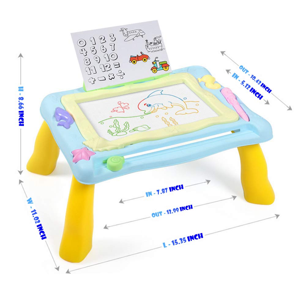 Sky Blue asika Magnetic Doodle Board Drawing Table Travel Size Deluxe Activity Travel Desk Learn and Sketch Writing Magic Pad with Erasable 3 Magnets for Kids and Toddlers