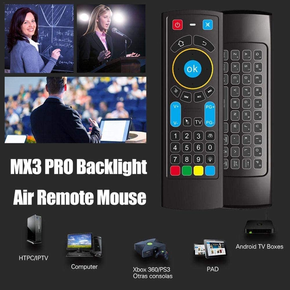 Calvas SZILBZ Bluetooth Mini Wireless keyboard Remote Control IR Air Mouse for  Fire TV//Fire Stick//Android TV//mi box//PC//Raspberry Color: Backlit