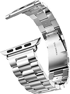eLander Stainless Steel Metal Strap Business Replacement Band for Apple Watch Series 1 2 3 4 (42mm and 44mm Silver)
