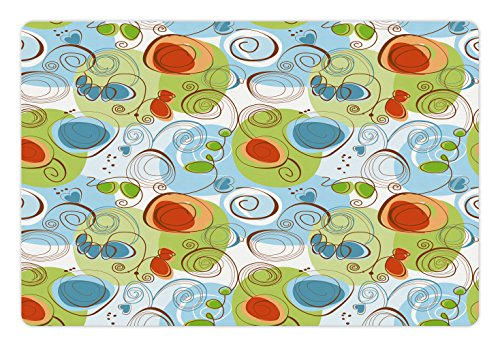 Blue Flower Funky Light (Ambesonne Modern Pet Mat for Food and Water, Floral Flowers with Geometrical Abstract Funky Swirls Modern Image, Rectangle Non-Slip Rubber Mat for Dogs and Cats, Light Green Blue and White)