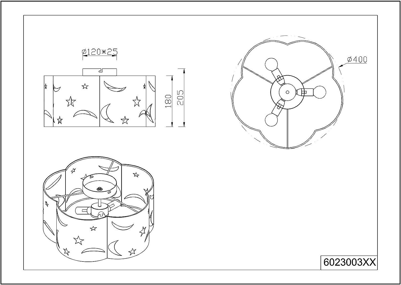lightling Kinderleuchte Klara Deckenleuchte Sternenhimmel mit Stoffschirm in hellgrau 42W /ø 25 H/öhe: 20.5 cm 1 x E27 max
