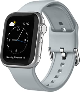 Adepoy Compatible with Apple Watch Bands 40mm 38mm, Soft Silicone Sport Wristbands Replacement Strap with Classic Clasp for iWatch Series SE 6 5 4 3 2 1 for Women Men, Light Grey 38/40mm
