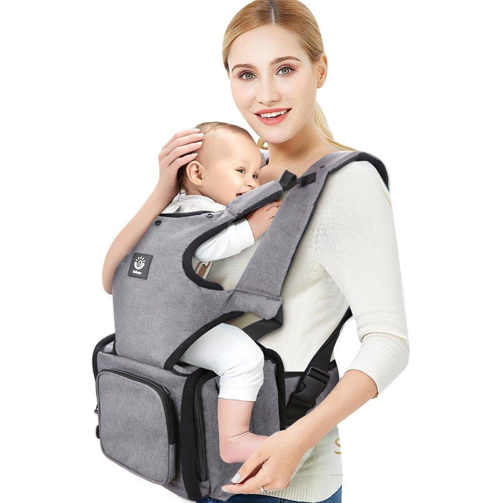 Unihope Portador de Ergon/ómico Mochilas Portabeb/és con un Dise/ño /único Portador de Baby Carrier de Gran Capacidad se Puede Mantener el Pa/ñal//Recomendado para 6 a 36 Meses de Edad、Gris