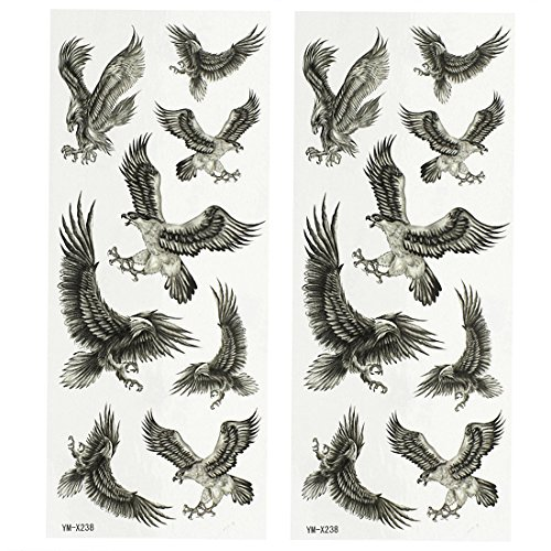 Eagle Temporary Tattoo (uxcell® Eagle Pattern 2 Sheets Body Art Removable Sticker Temporary Tattoos Dark Gray)
