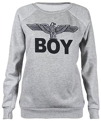 3fadceaf0ca5 W00 Damen Sweatshirt Pullover Boy London Adler Aufdruck Lange Ärmel Oberteil   Amazon.de  Bekleidung