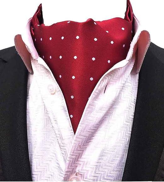 Mohslee Mens Red Polka Dots Jacquard Woven Self Crava Casual Ascot