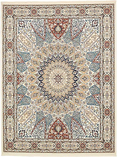 Unique Loom Narenj Collection Classic Traditional Medallion Textured Ivory Area Rug (10' 0 x 13' 0)