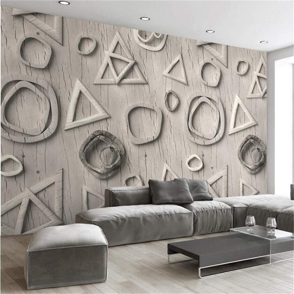 Wandbild, 3D Benutzerdefinierte Tapete Geometrisches Dreieck Einfache Moderne Runde Tv-Hintergrundwand, 274 Cm (B) X 254 Cm (H)