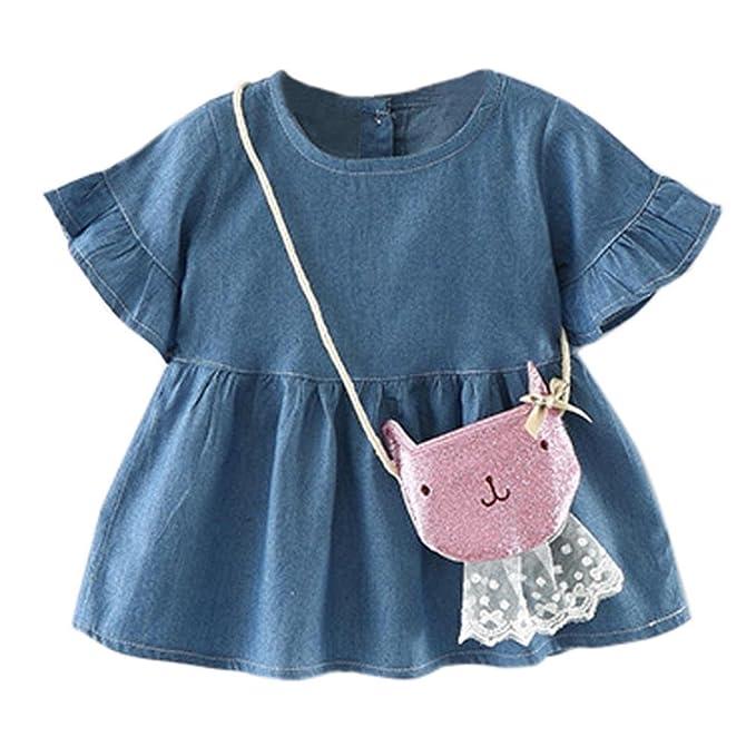 df4140597f Jeanskleider Baby, Longra Mädchen Volant-Ärmel Jeans Kleid Denimkleid Jeans  Shirt Kleid Kleinkind Baby