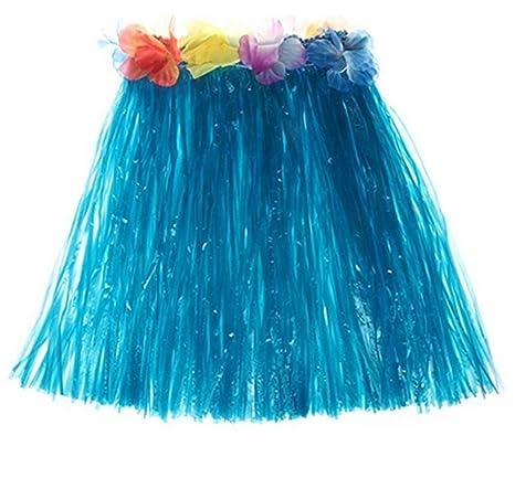 f62305b55 Chytaii Falda de Hierba con Flores Hawaiana Accesorios para Festivales de  Danza Falda de Playa Falda
