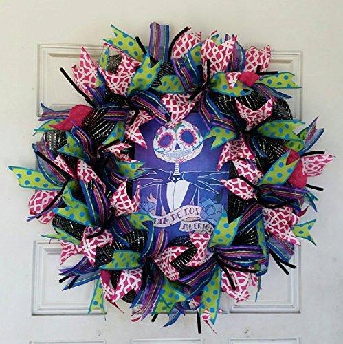 Hello Kitty Day Of The Dead (Handcrafted Jack Skellington Day of the Dead Halloween Deco Mesh Wreath Decor, Dia De Los Muertos)