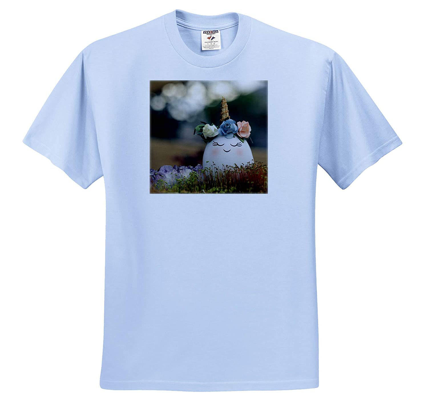 Photograph of a uniEGGcorn with Purple Agate nestled in Some Moss 3dRose Stamp City Holiday - T-Shirts