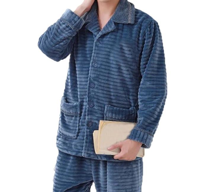 Hombres Otoño E Invierno Más Grueso Traje De Pijamas De Franela De Gran Tamaño Engrosado V