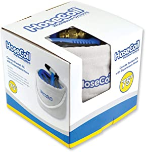 HoseCoil Canvas Bucket w/75 Expandable Hose, Rubber Tip Nozzle Qui. [HCE75CB]