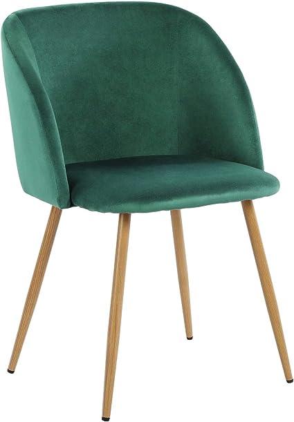 eggree chaises salle a manger en tissu velours retro pour salle a manger salon bureau fauteuil rembourre scandinaves pieds en metal vert fonce